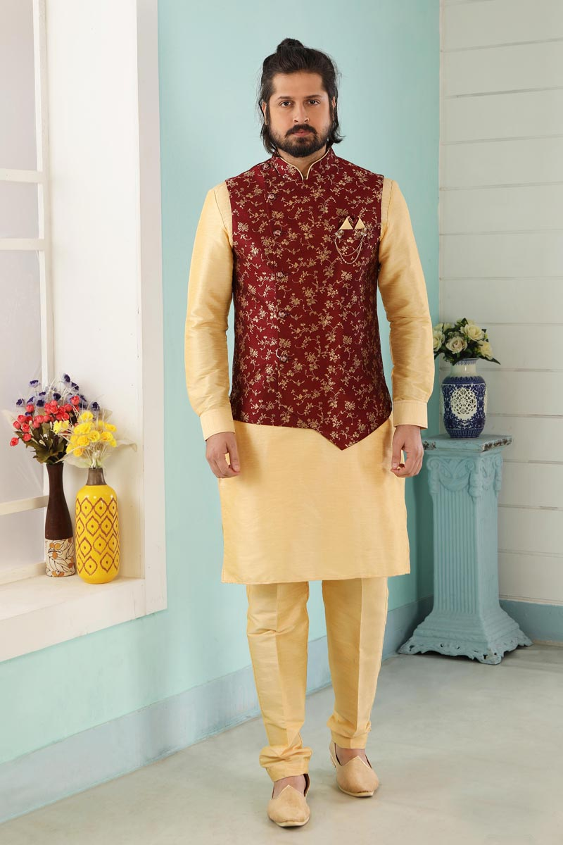 Golden Color Art Silk Fabric Function Wear Kurta Pyjama For Men