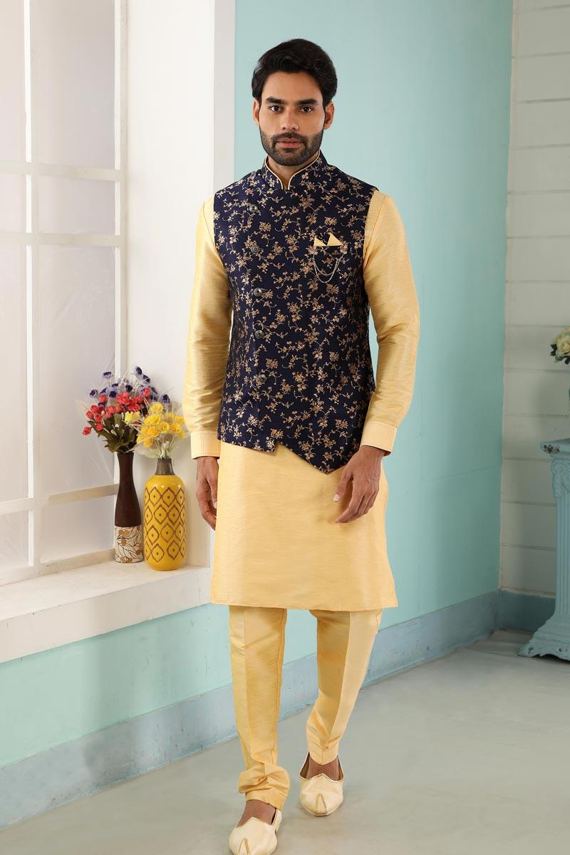 Golden Color Art Silk Fabric Festive Wear Trendy Kurta Pyjama For Men