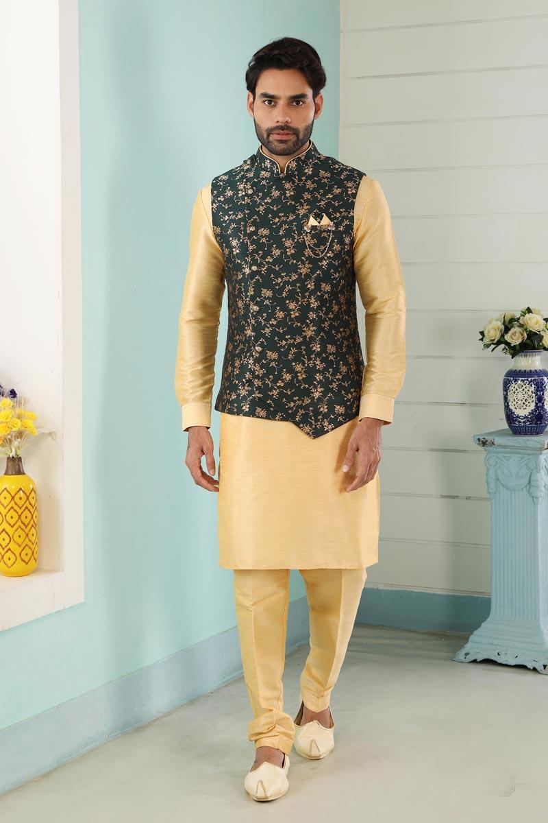Golden Art Silk Sangeet Wear Stylish Kurta Pyjama For Men