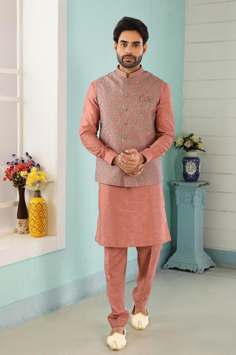Art Silk Fabric Function Wear Designer Kurta Pyjama For Men