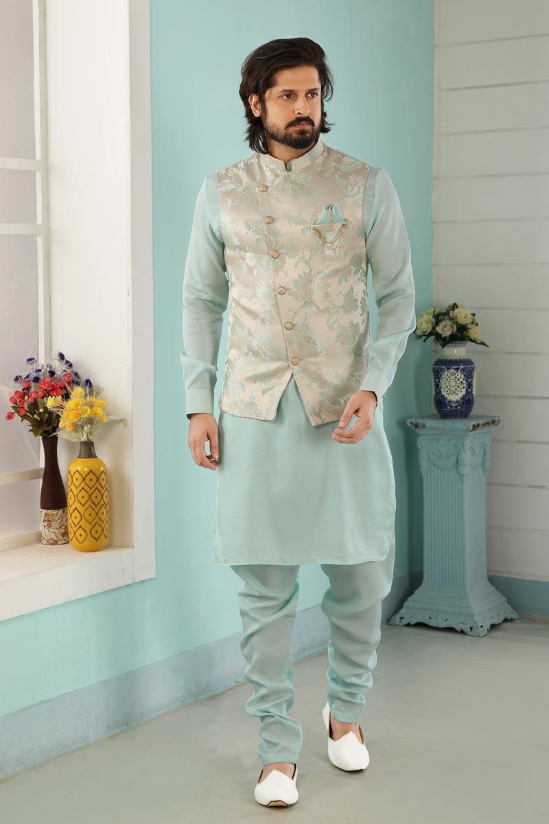 Light Cyan Color Art Silk Fabric Festive Wear Trendy Kurta Pyjama For Men