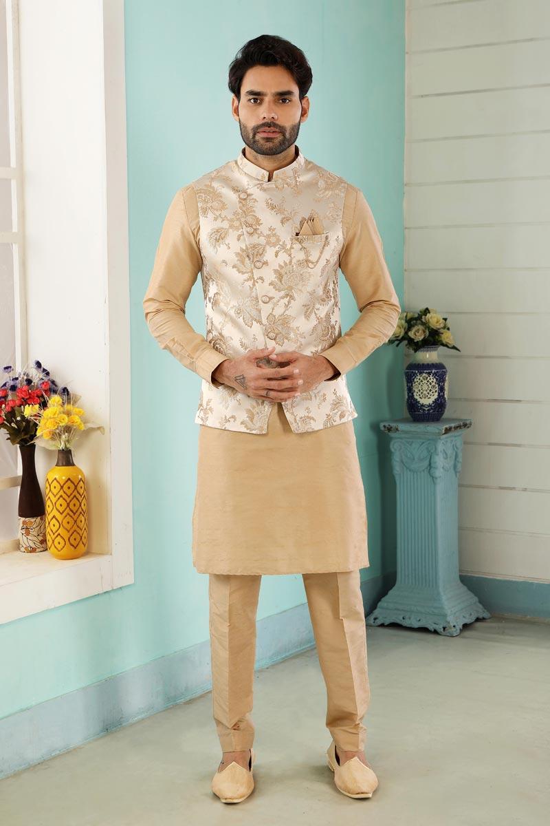 Beige Color Art Silk Fabric Sangeet Wear Kurta Pyjama For Men