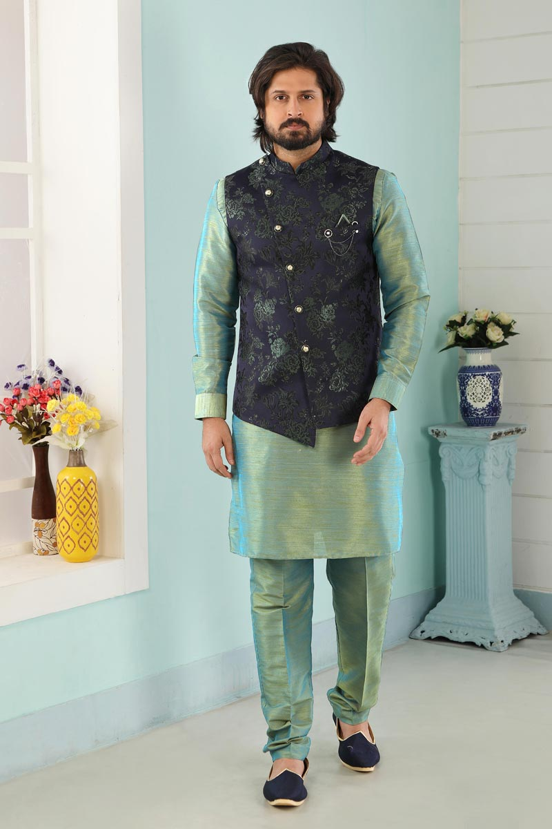 Cyan Color Art Silk Fabric Function Wear Fancy Kurta Pyjama For Men