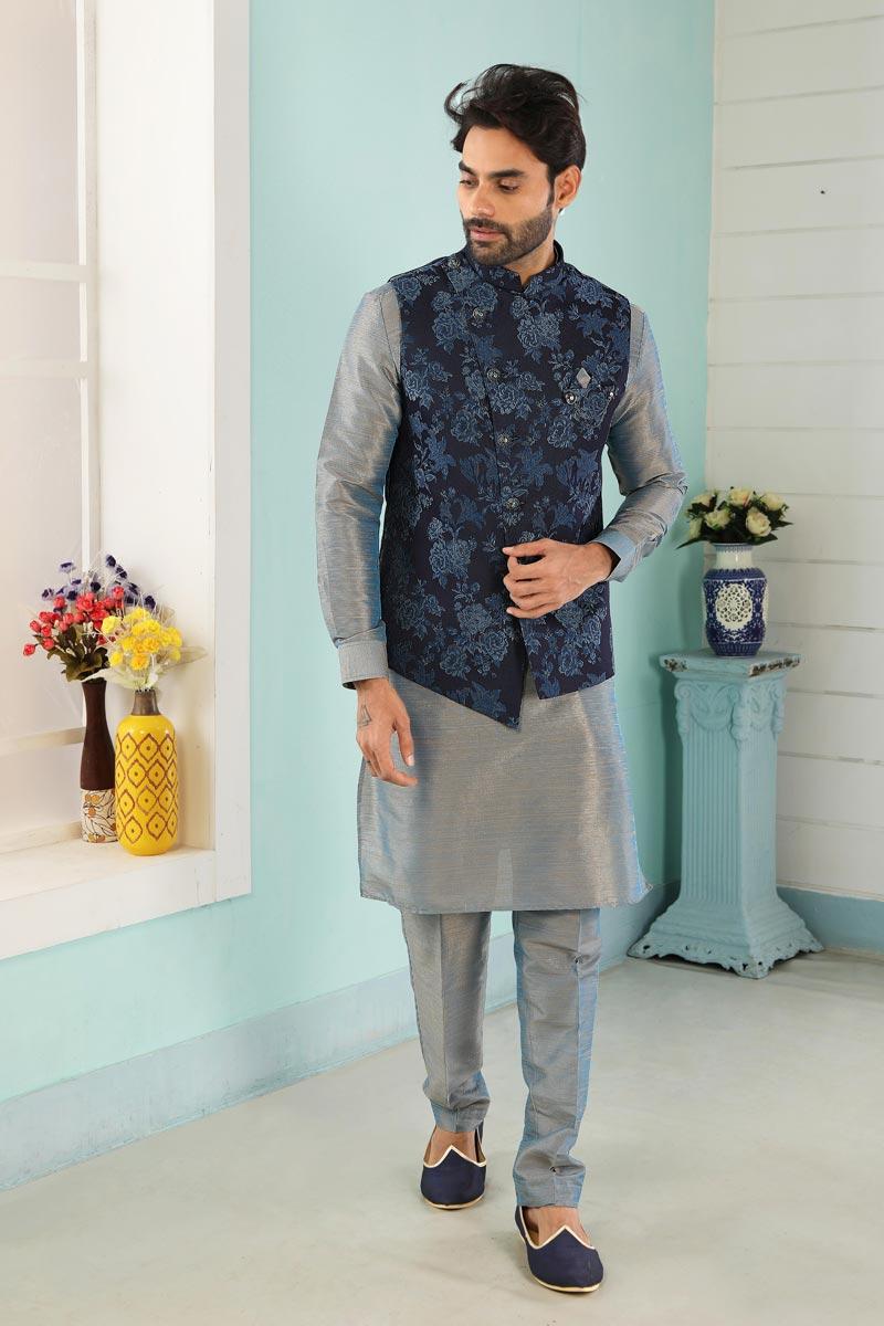 Grey Color Festive Wear Trendy Kurta Pyjama For Men