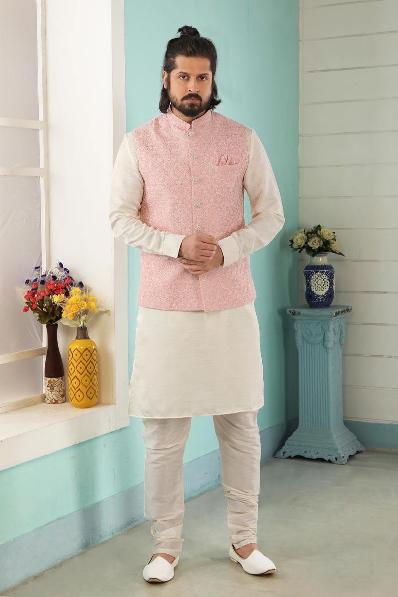 Off White Color Stylish Kurta Pyjama For Men