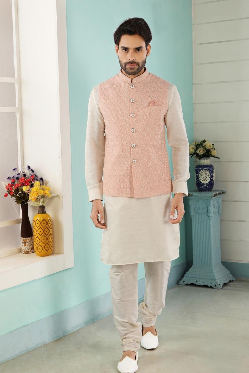 Off White Color Art Silk Fabric Kurta Pyjama For Men