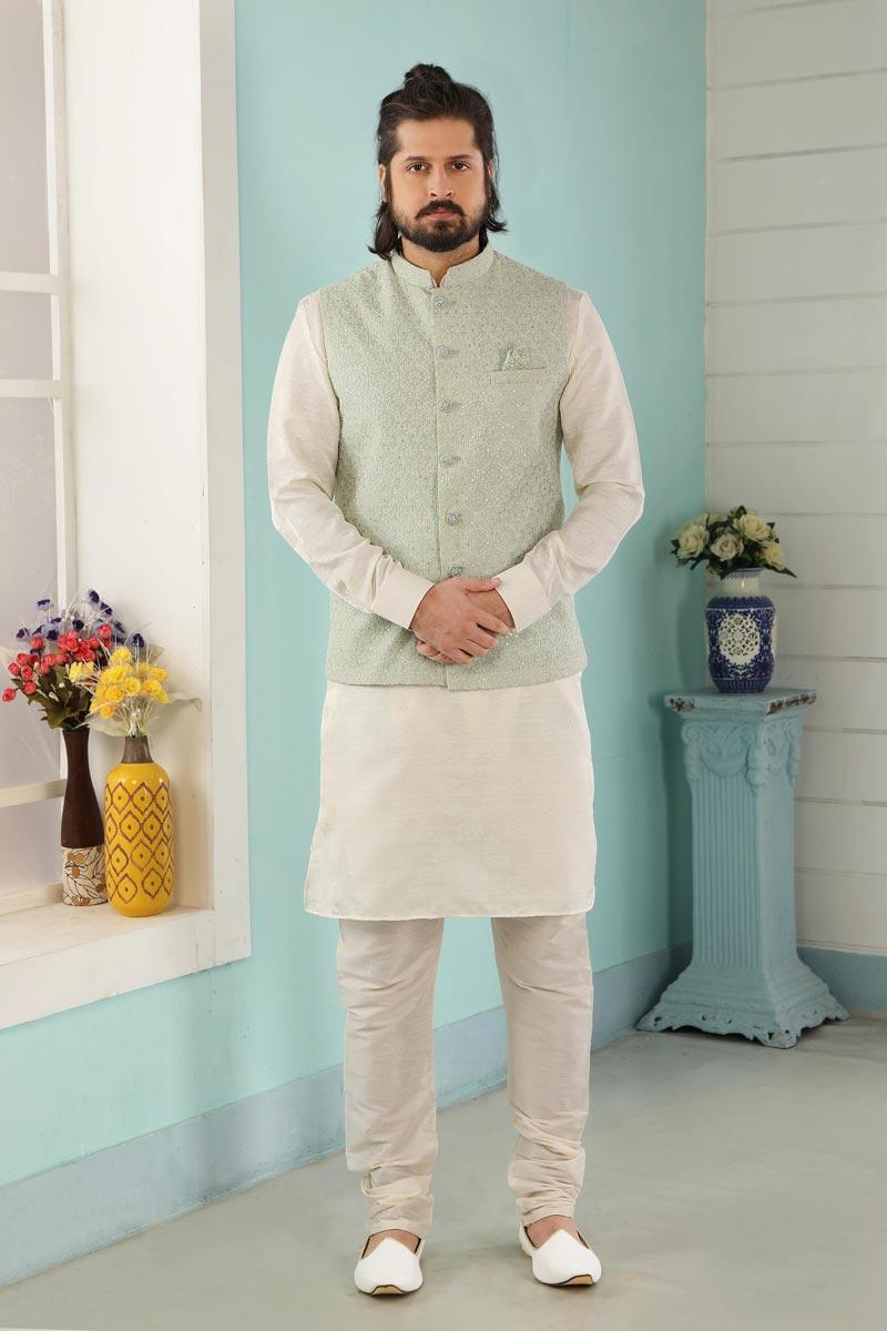 Off White Art Silk Fabric Function Wear Fancy Kurta Pyjama For Men