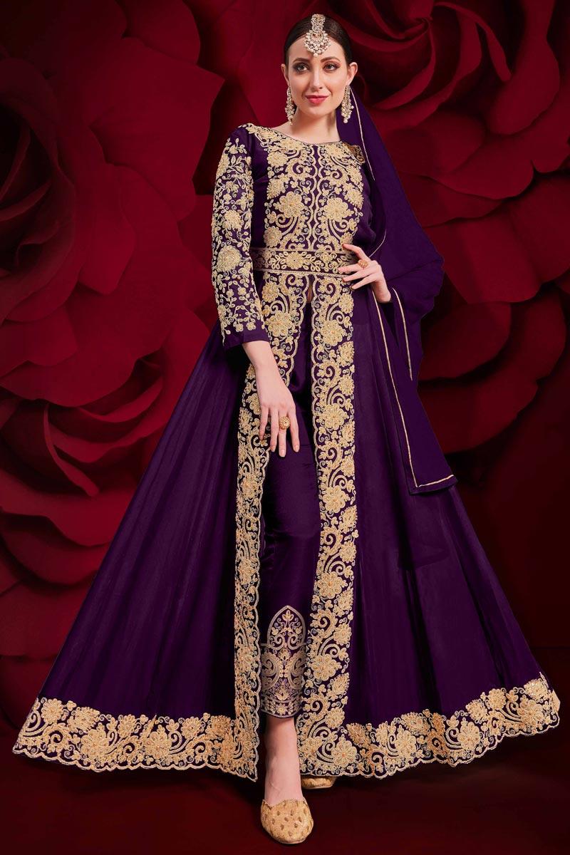 Purple Color Georgette Fabric Sangeet Wear Designer Anarkali Salwar Kameez