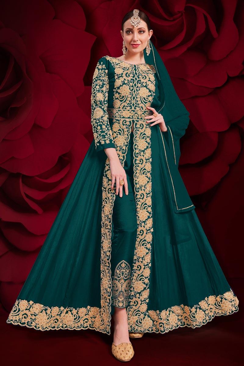 Georgette Fabric Wedding Wear Designer Anarkali Suit In Teal Color