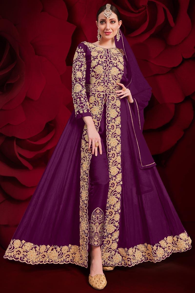 Festive Wear Designer Anarkali Salwar Suit In Wine Color Georgette Fabric