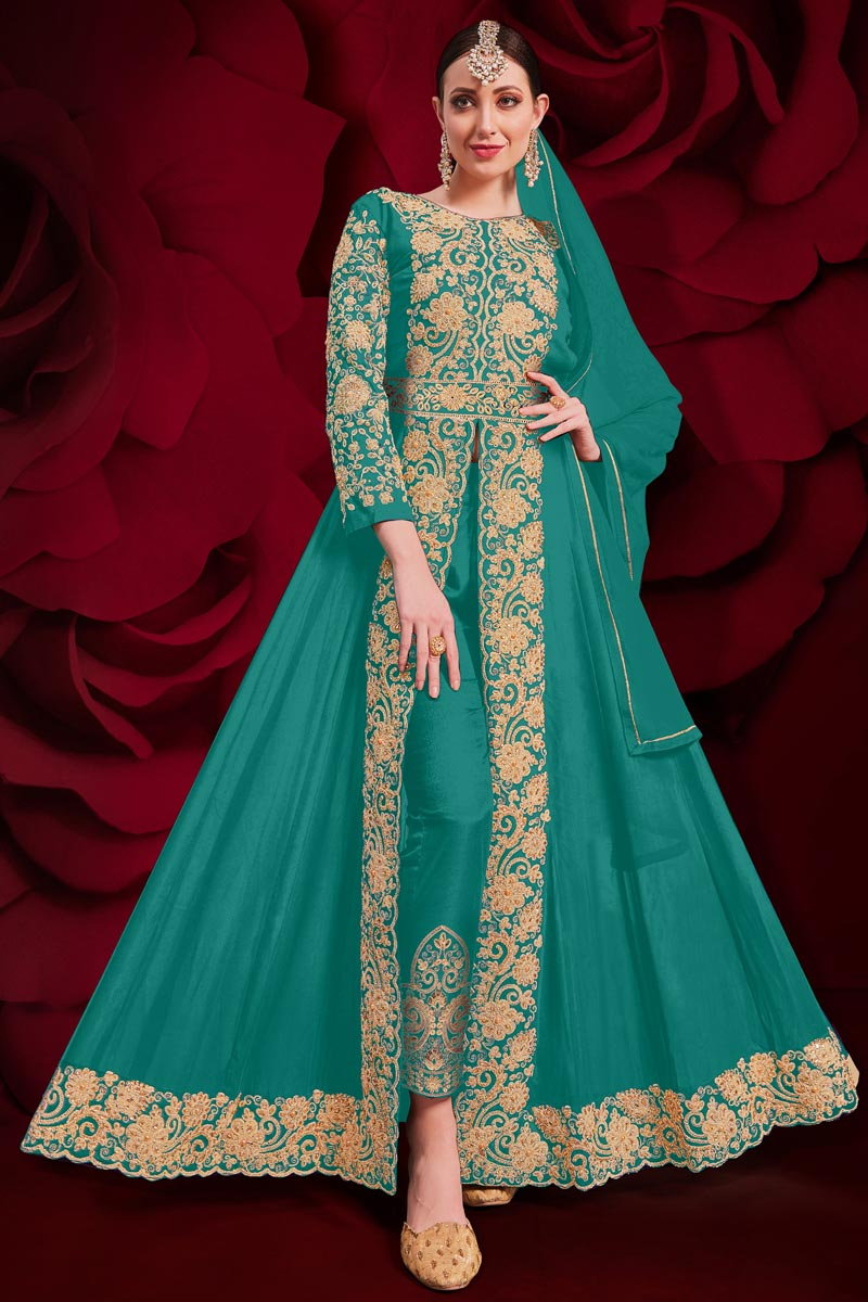 Georgette Fabric Designer Anarkali Suit In Cyan Color