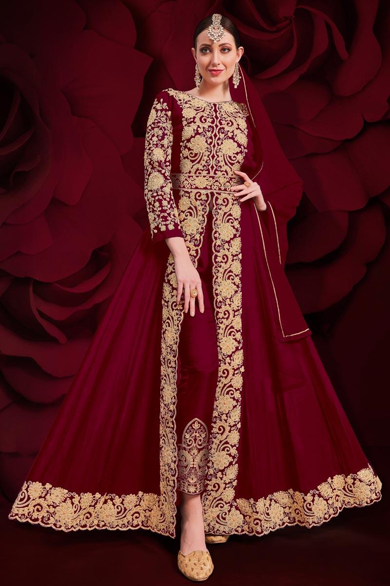 Maroon Georgette Fabric Sangeet Wear Designer Anarkali Salwar Kameez