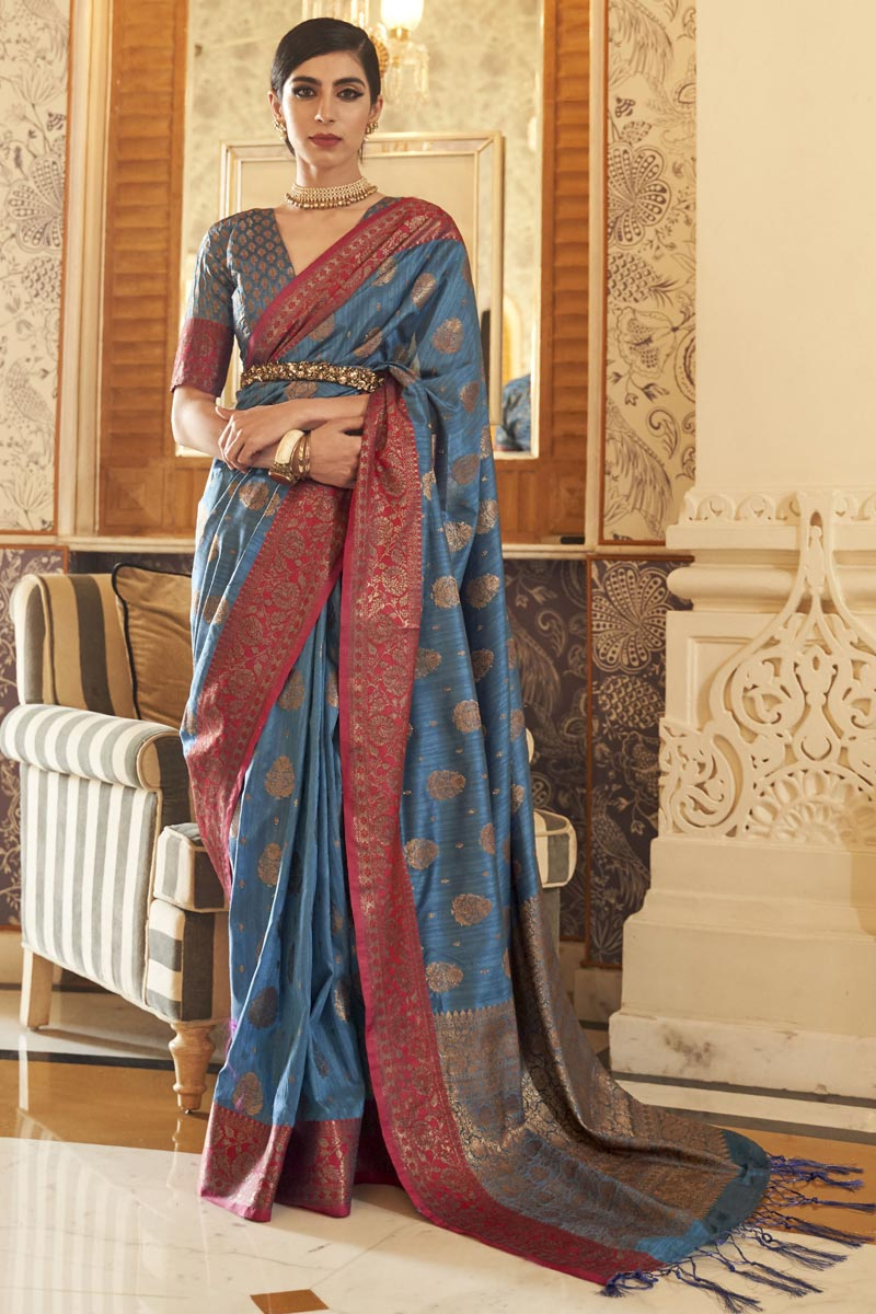 Party Style Navy Blue Color Chic Art Silk Weaving Work Saree