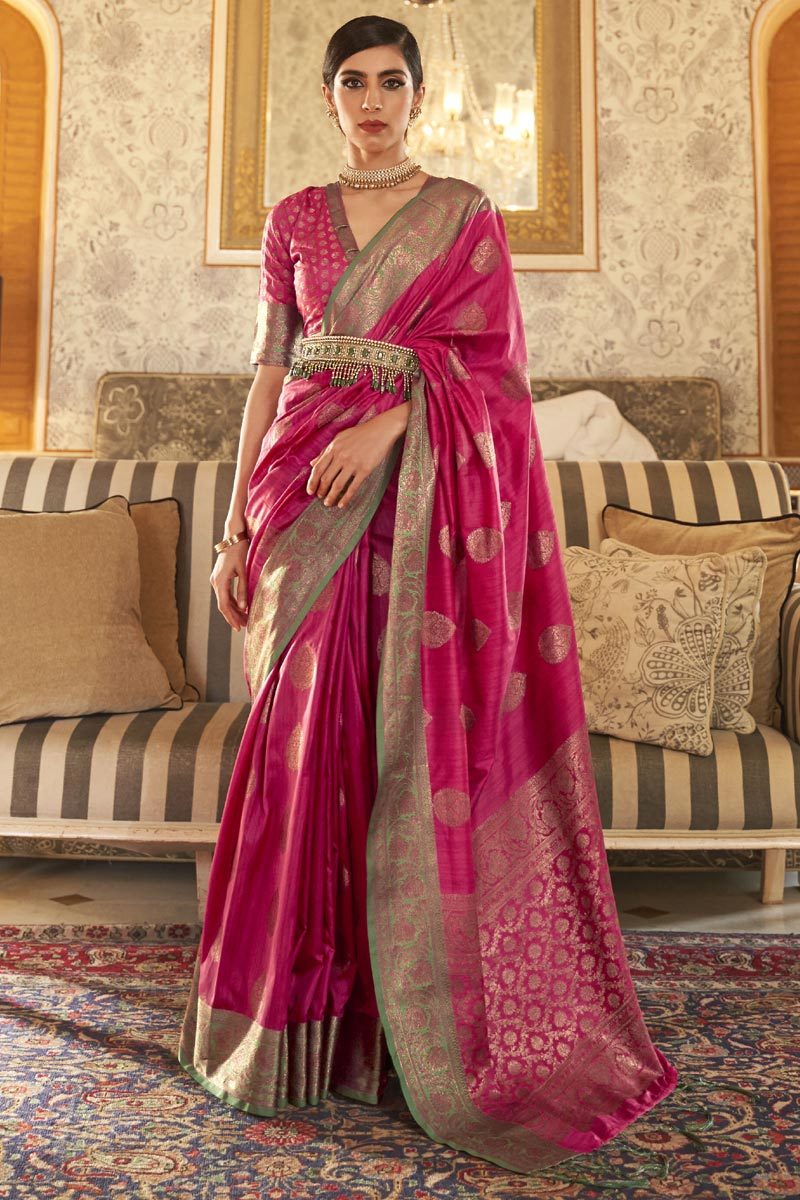 Party Style Art Silk Chic Weaving Work Saree In Pink Color