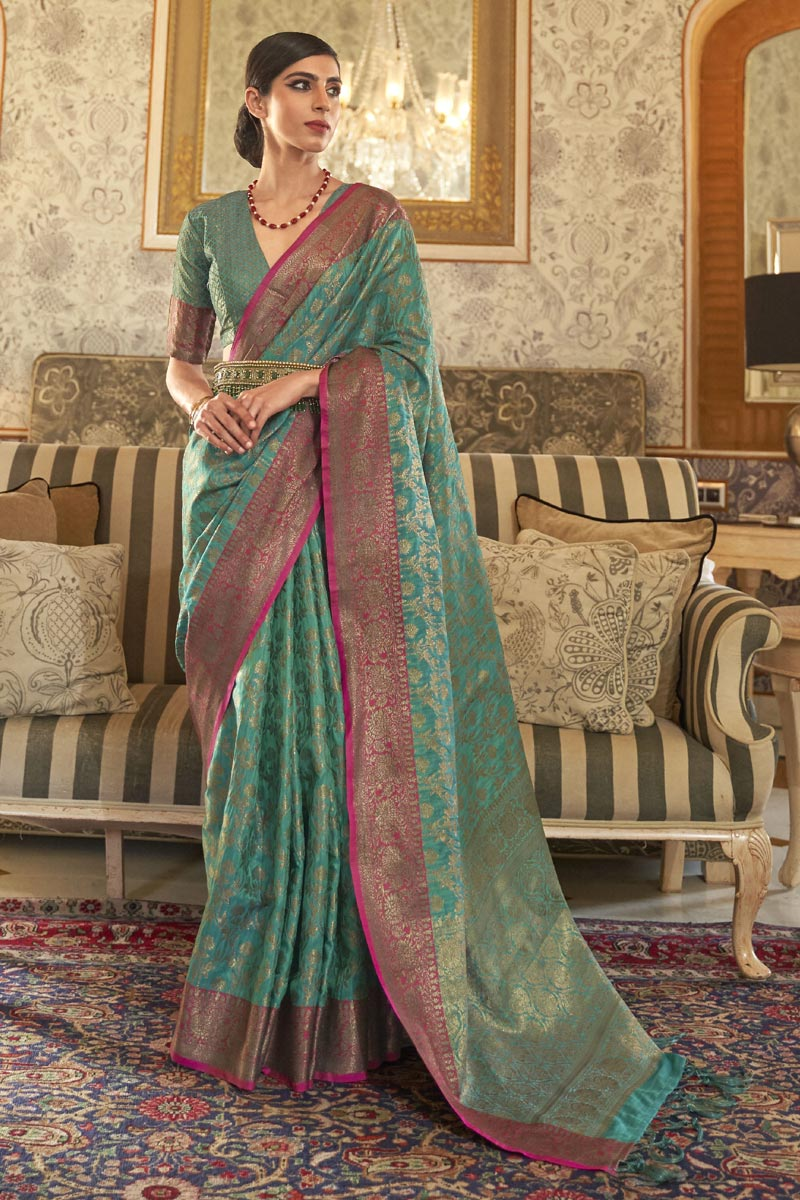 Art Silk Chic Party Style Green Color Weaving Work Saree