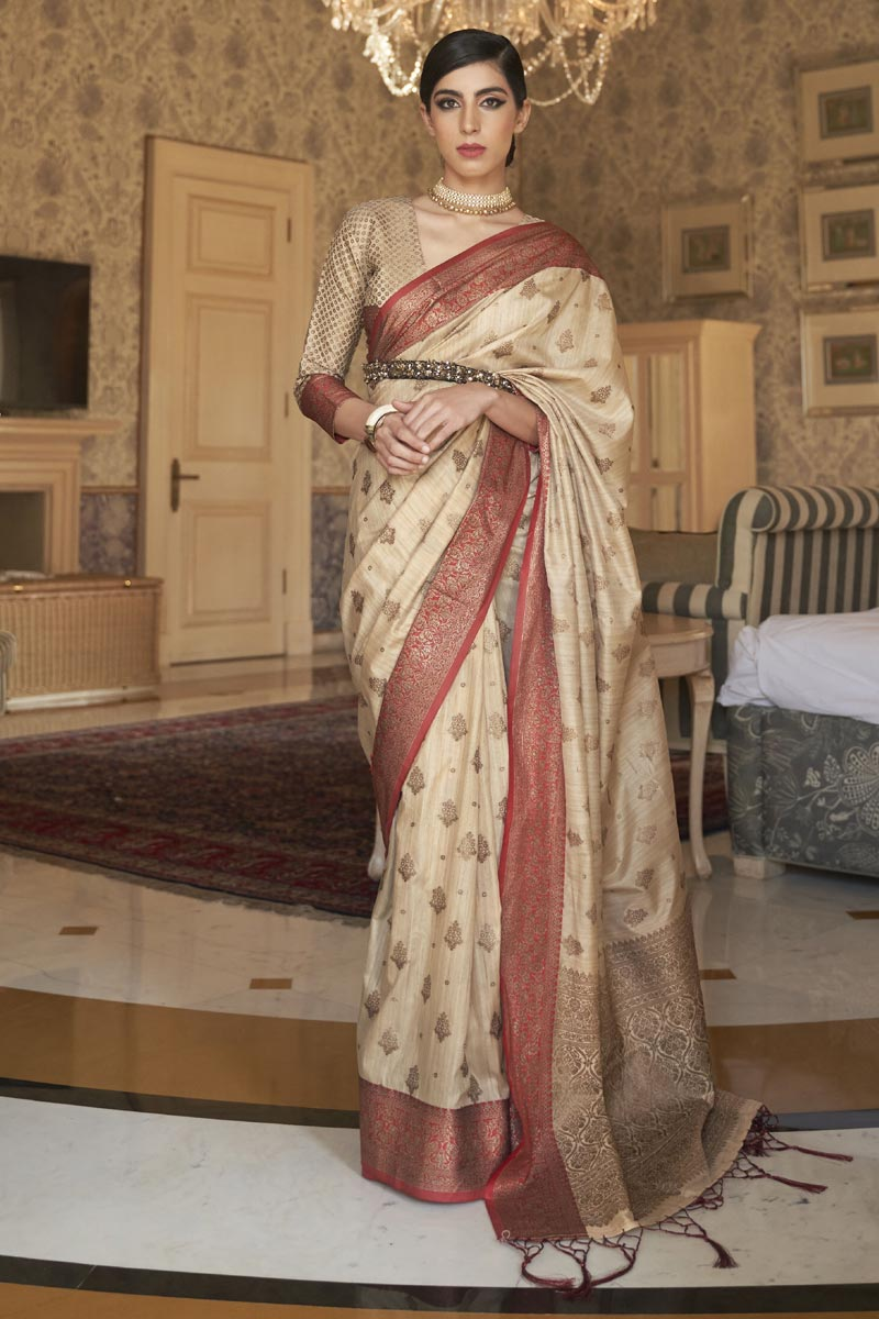 Beige Color Party Style Art Silk Chic Weaving Work Saree