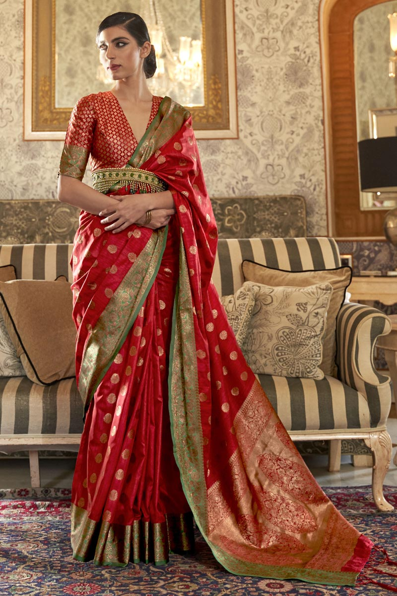 Party Style Art Silk Chic Weaving Work Saree In Red Color