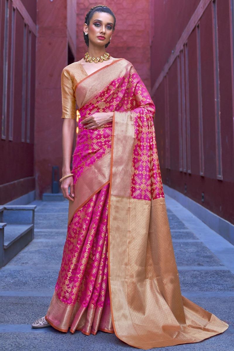 Rani Color Puja Wear Trendy Art Silk Fabric Weaving Work Saree