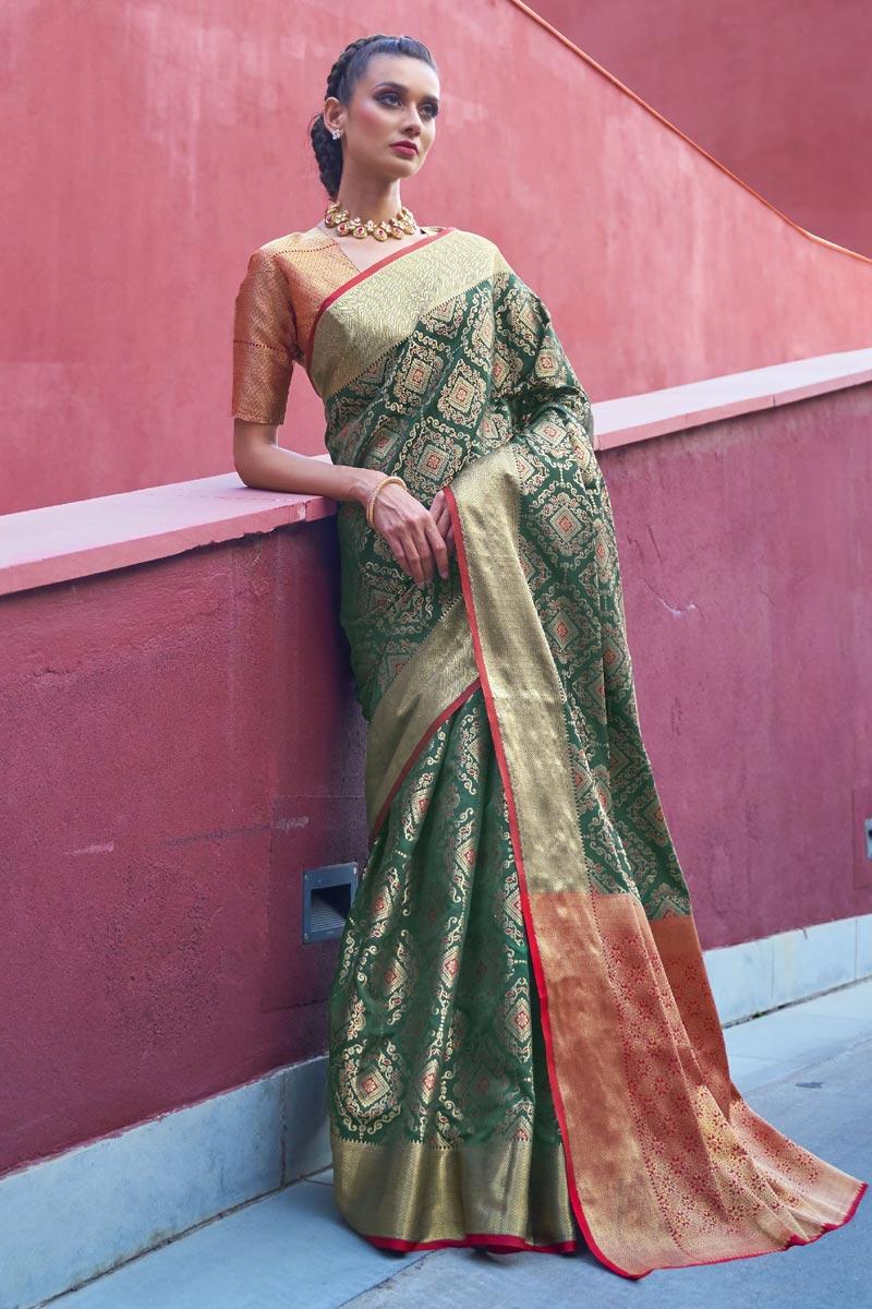 Puja Wear Art Silk Fabric Trendy Weaving Work Saree In Green