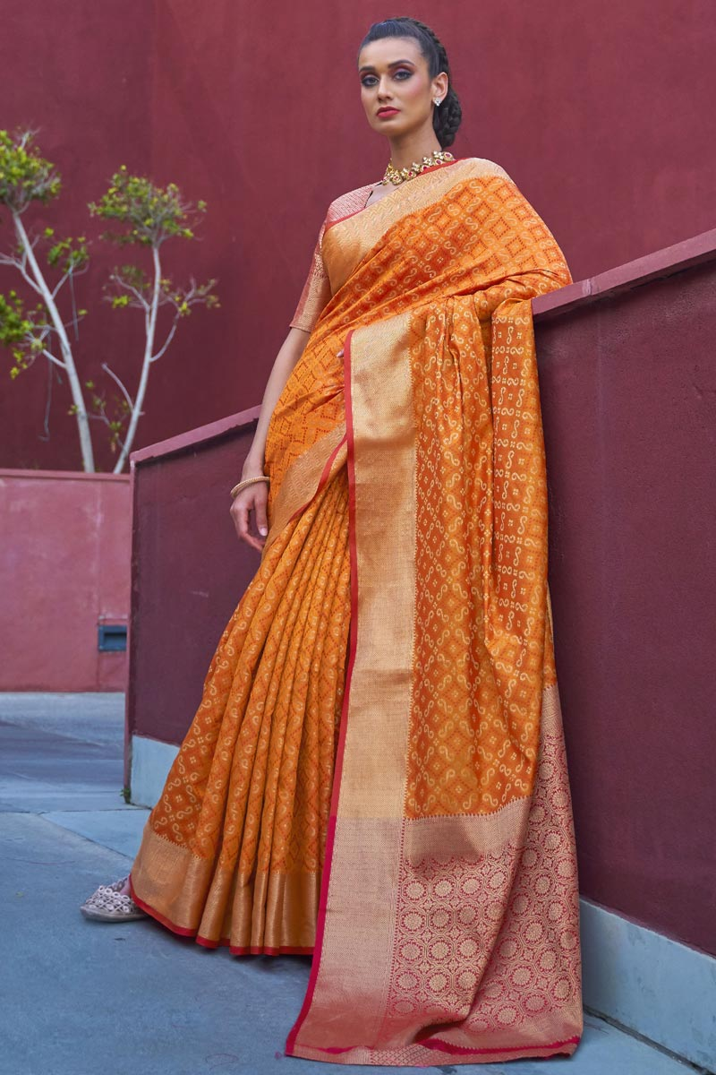Orange Color Puja Wear Art Silk Fabric Trendy Weaving Work Saree