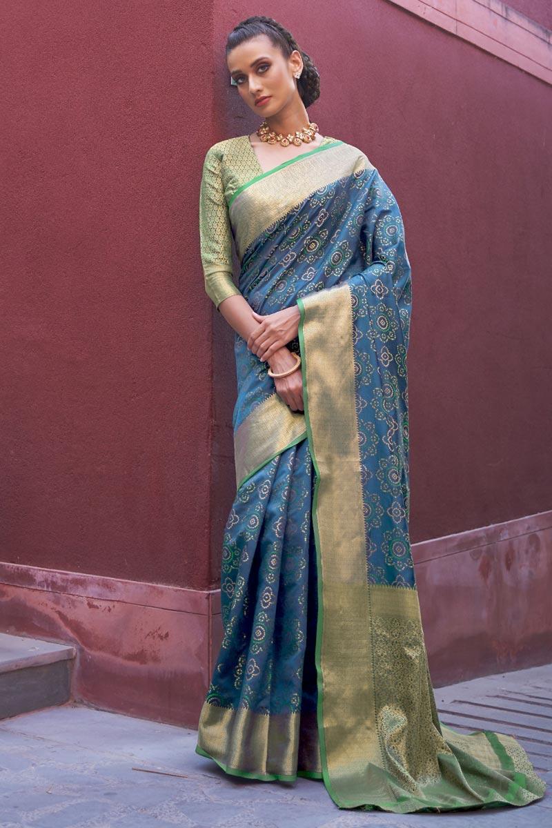 Art Silk Fabric Trendy Puja Wear Sky Blue Color Weaving Work Saree