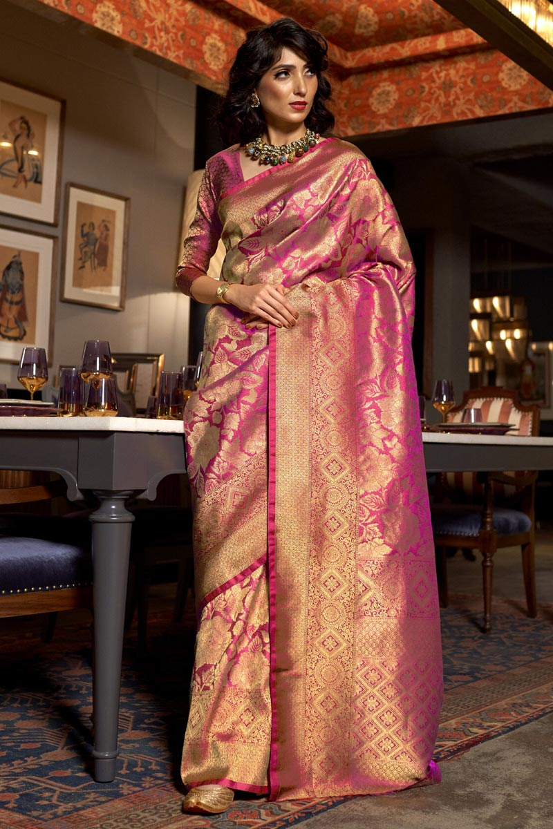 Party Wear Art Silk Fabric Trendy Weaving Work Saree In Pink Color