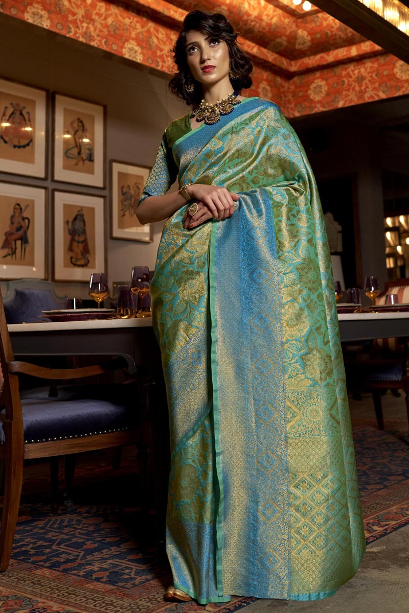 Party Wear Art Silk Fabric Trendy Weaving Work Saree In Sea Green Color