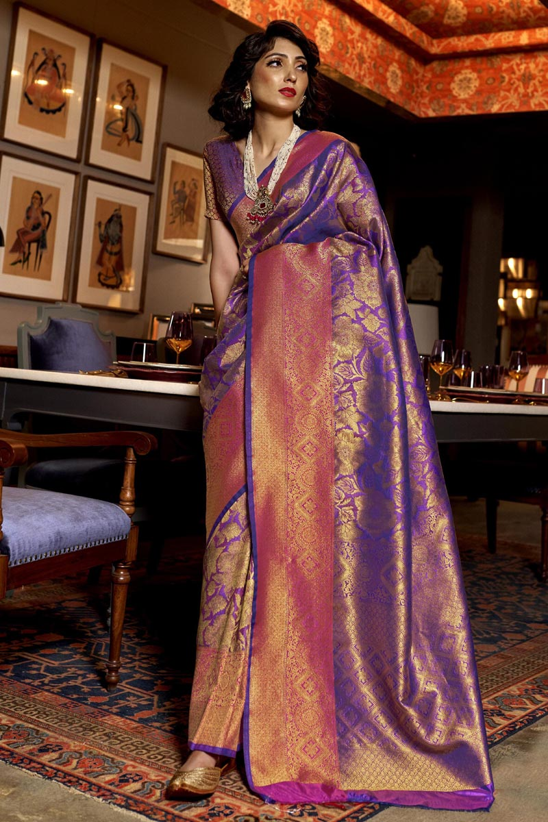 Purple Color Party Wear Art Silk Fabric Trendy Weaving Work Saree