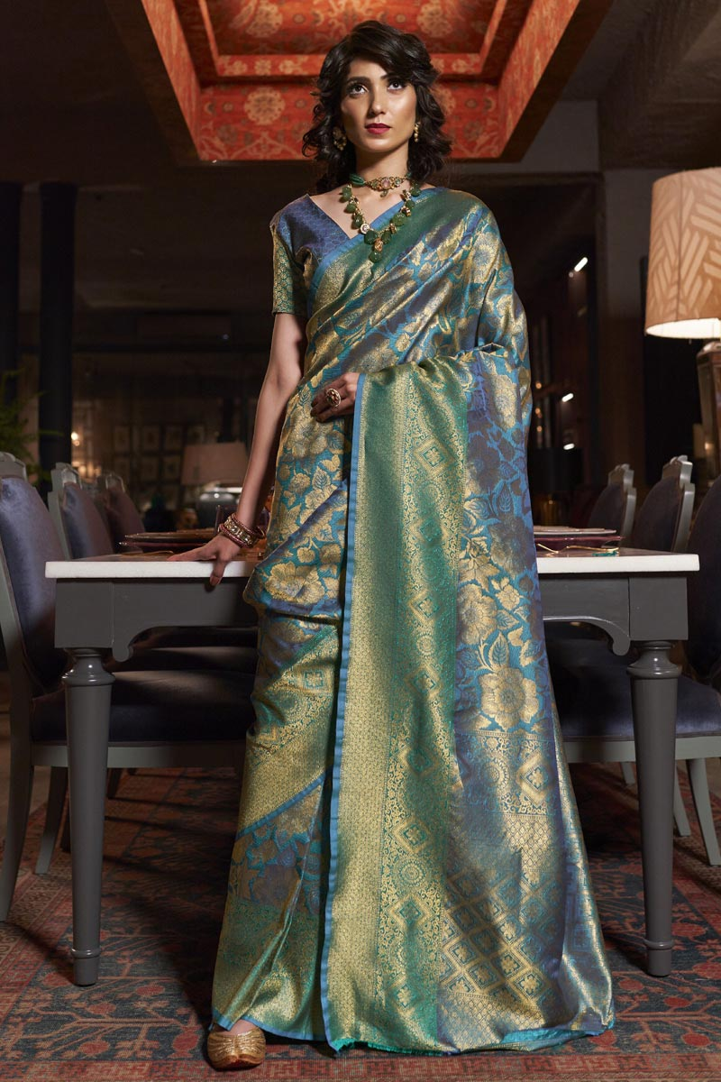 Art Silk Fabric Trendy Party Wear Sky Blue Color Weaving Work Saree