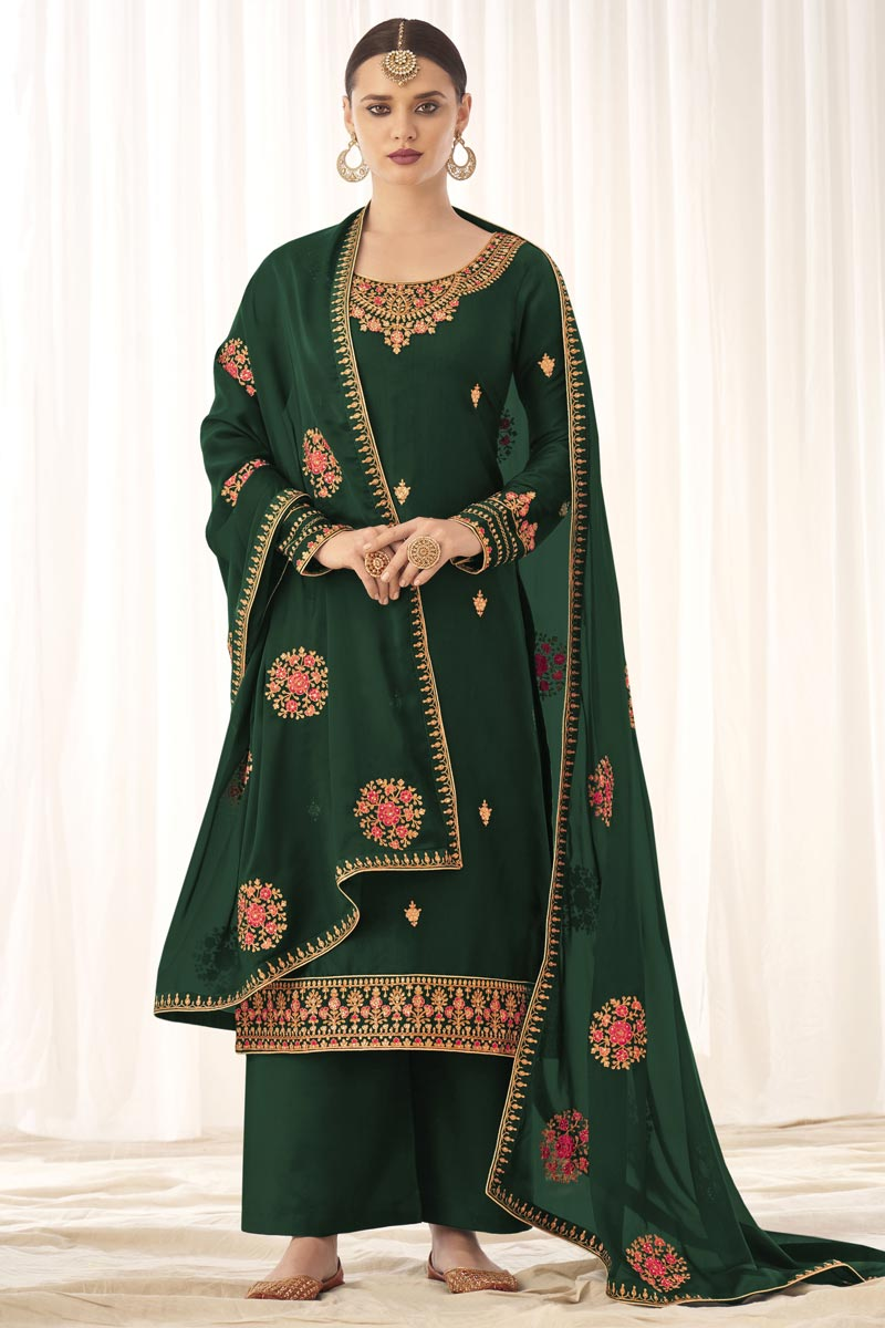 Dark Green Color Fancy Embroidered Art Silk Fabric Palazzo Dress