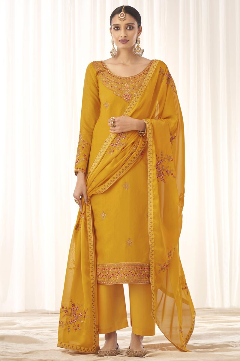 Art Silk Fabric Yellow Color Fancy Embroidered Palazzo Suit