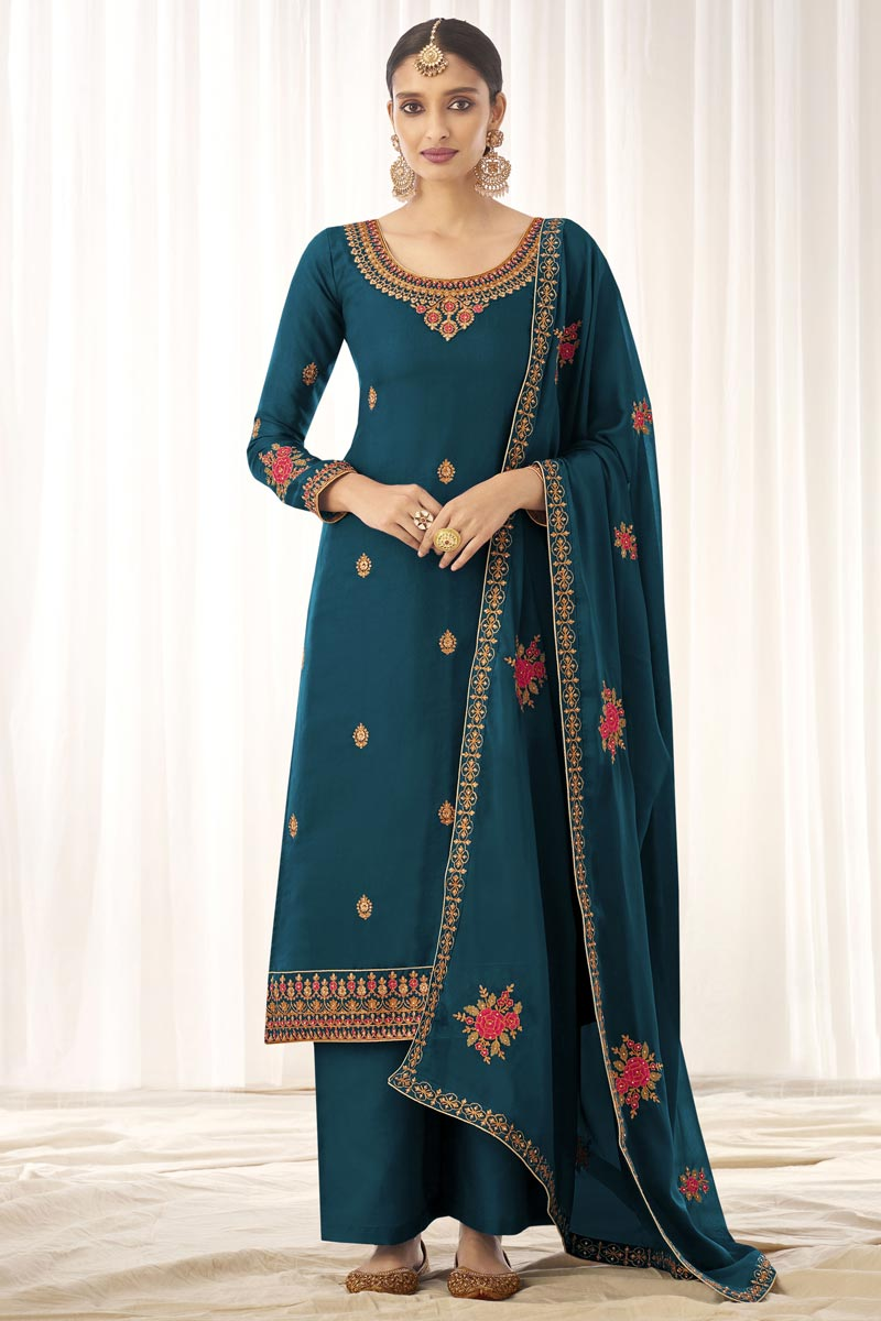 Teal Color Art Silk Fabric Fancy Embroidered Palazzo Dress
