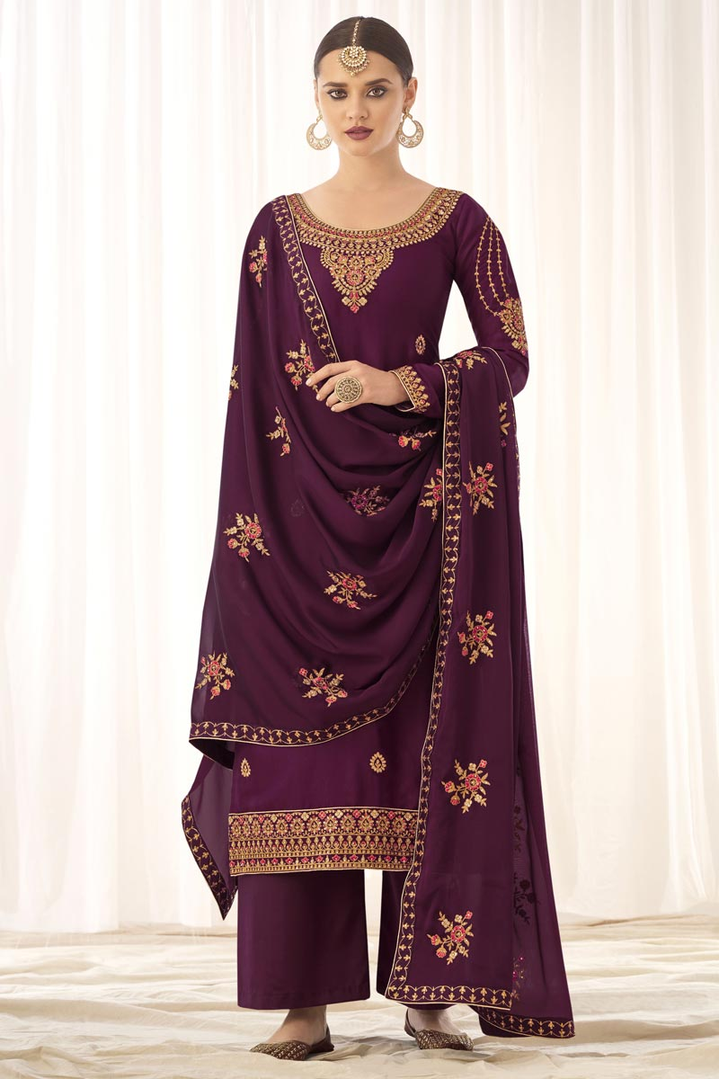 Art Silk Fabric Purple Color Fancy Embroidered Palazzo Suit