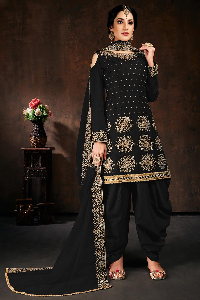 Black Color Chic Festive Wear Embroidered Patiala Suit In Georgette Fabric