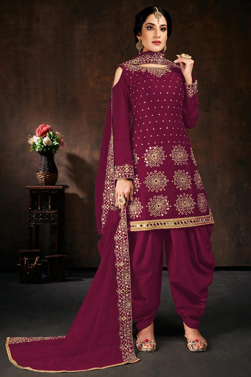 Georgette Fabric Festive Wear Burgundy Color Chic Embroidered Patiala Dress