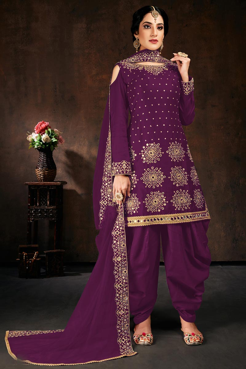 Festive Wear Purple Color Chic Georgette Fabric Embroidered Patiala Suit