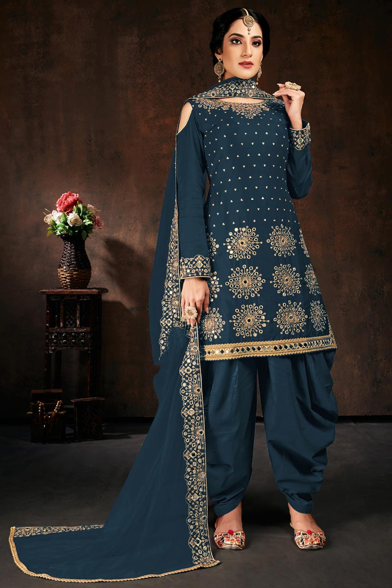 Georgette Fabric Festive Wear Chic Embroidered Patiala Dress In Teal Color
