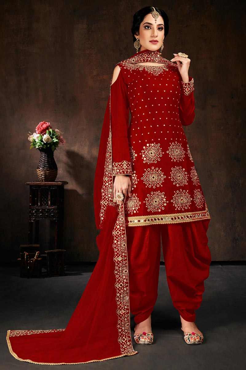 Chic Festive Wear Red Color Embroidered Patiala Suit In Georgette Fabric