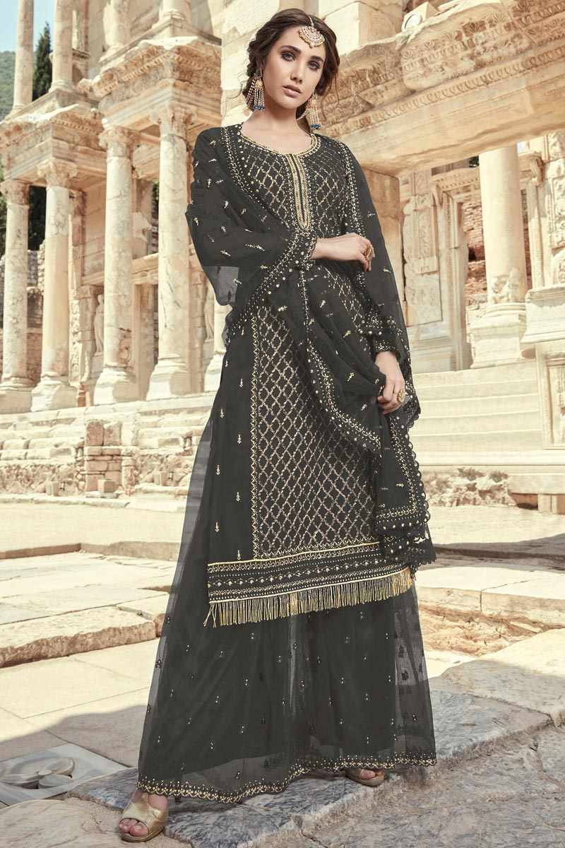 Dark Beige Color Fancy Embroidered Georgette Fabric Palazzo Dress