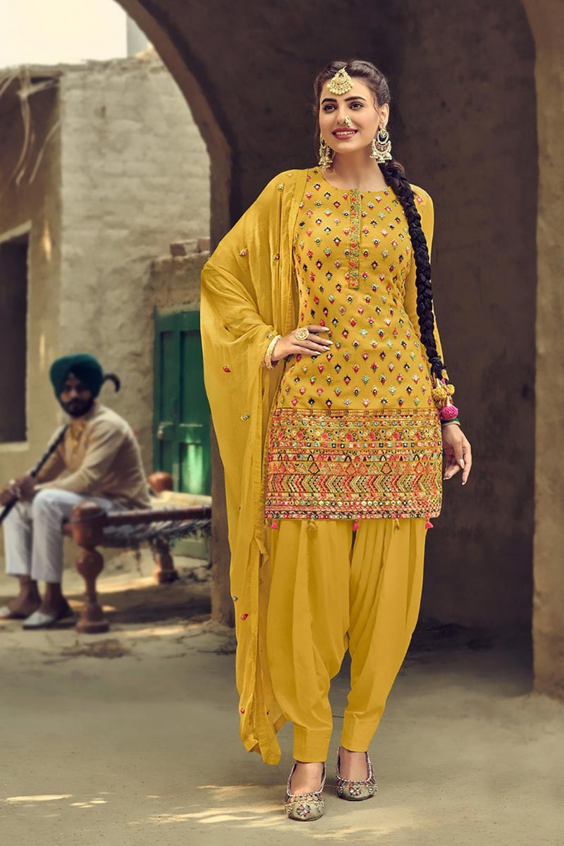 Yellow Color Fancy Embroidered Georgette Fabric Patiala Suit
