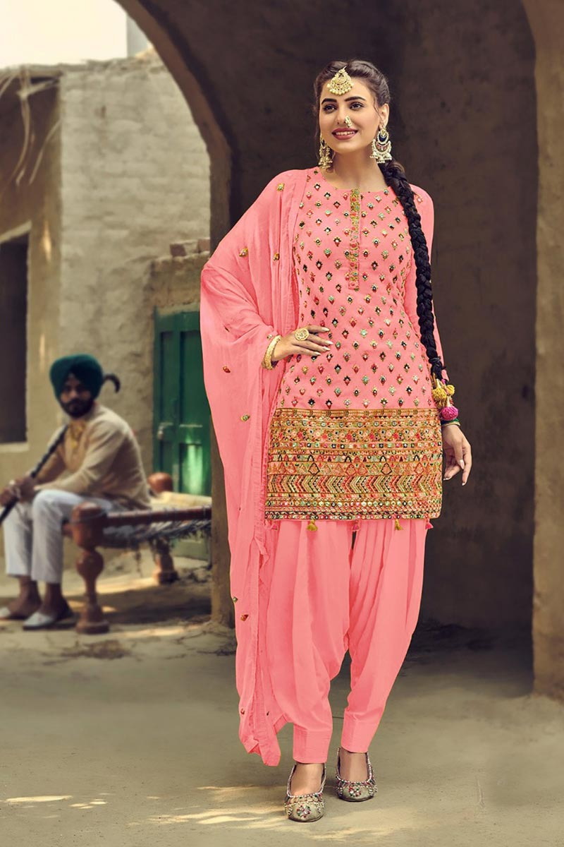 Georgette Fabric Fancy Embroidered Patiala Dress In Pink Color