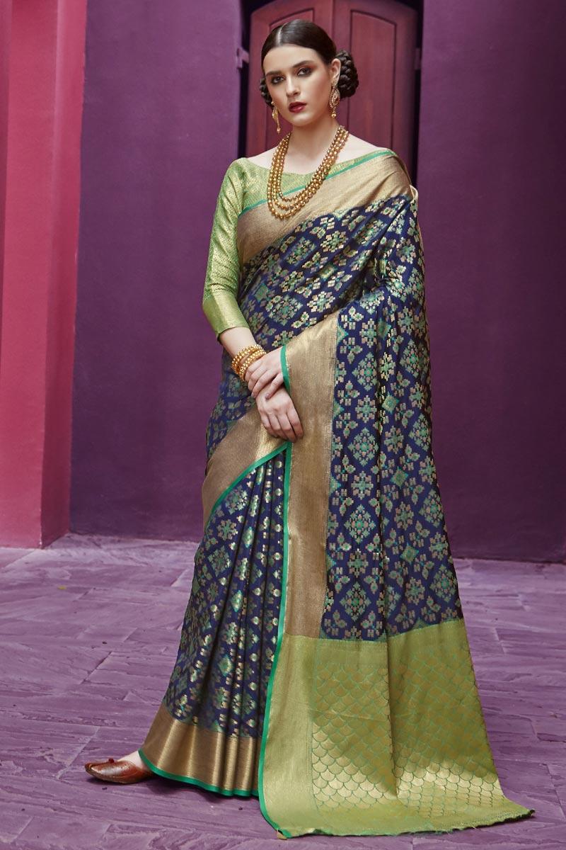 Navy Blue Festive Wear Fancy Art Silk Fabric Patola Style Weaving Work Saree