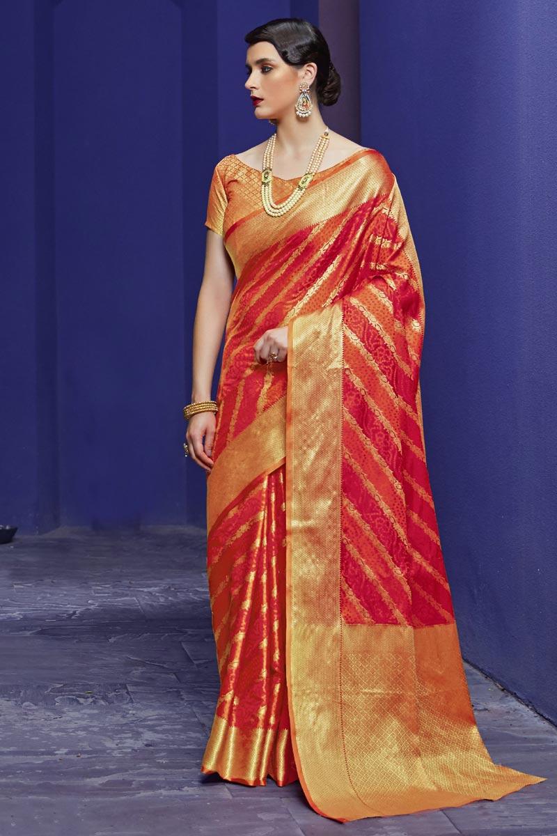 Fancy Orange Festive Wear Art Silk Fabric Patola Style Weaving Work Saree