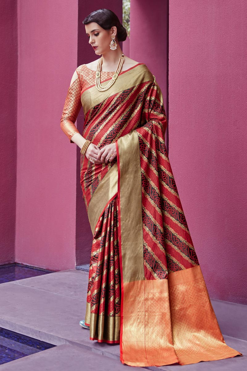 Art Silk Fabric Festive Wear Fancy Red Patola Style Weaving Work Saree