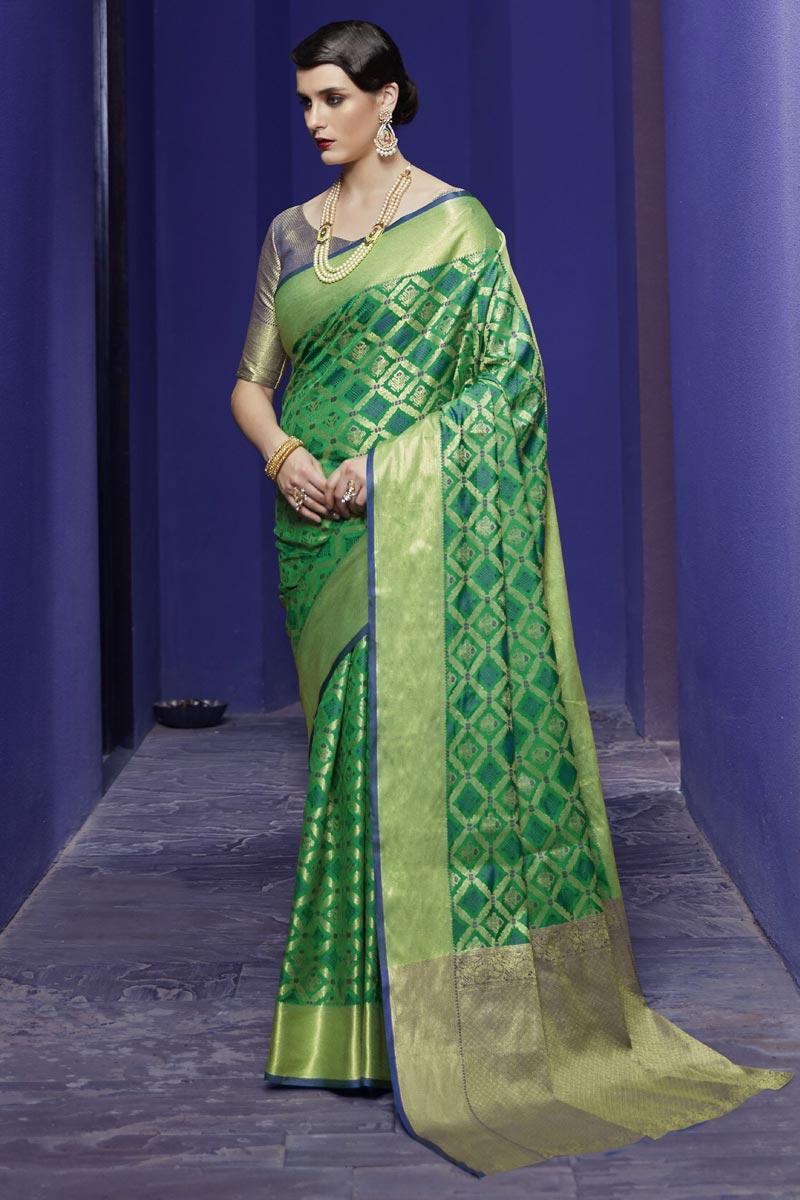 Festive Wear Art Silk Fabric Fancy Patola Style Weaving Work Saree In Green