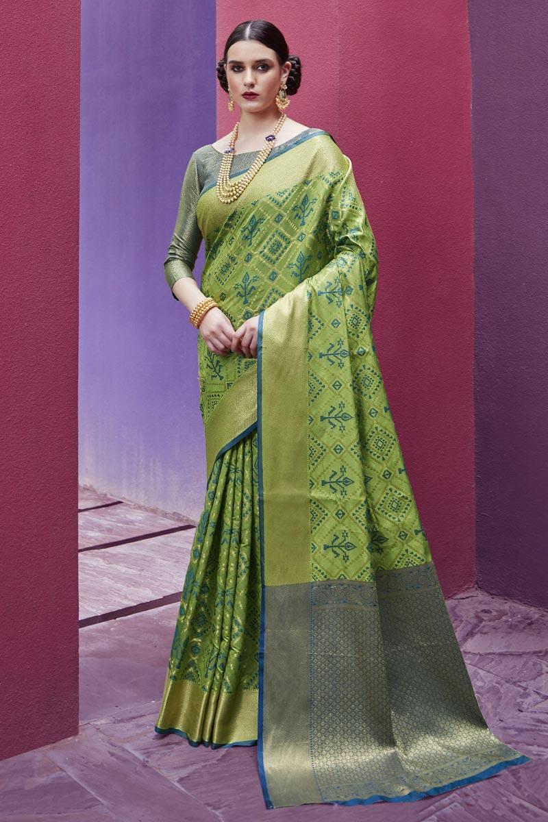 Fancy Festive Wear Art Silk Fabric Patola Style Weaving Work Saree In Green