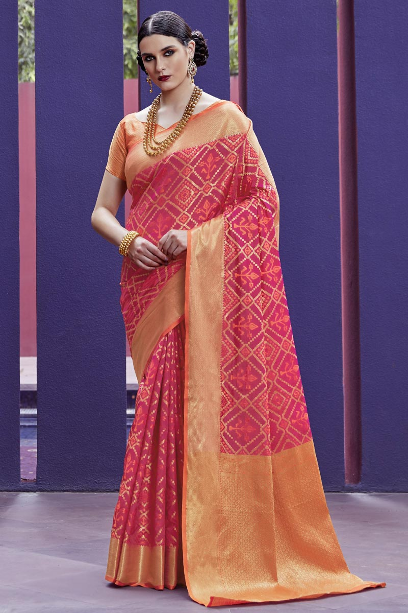 Festive Wear Art Silk Fabric Fancy Pink Patola Style Weaving Work Saree