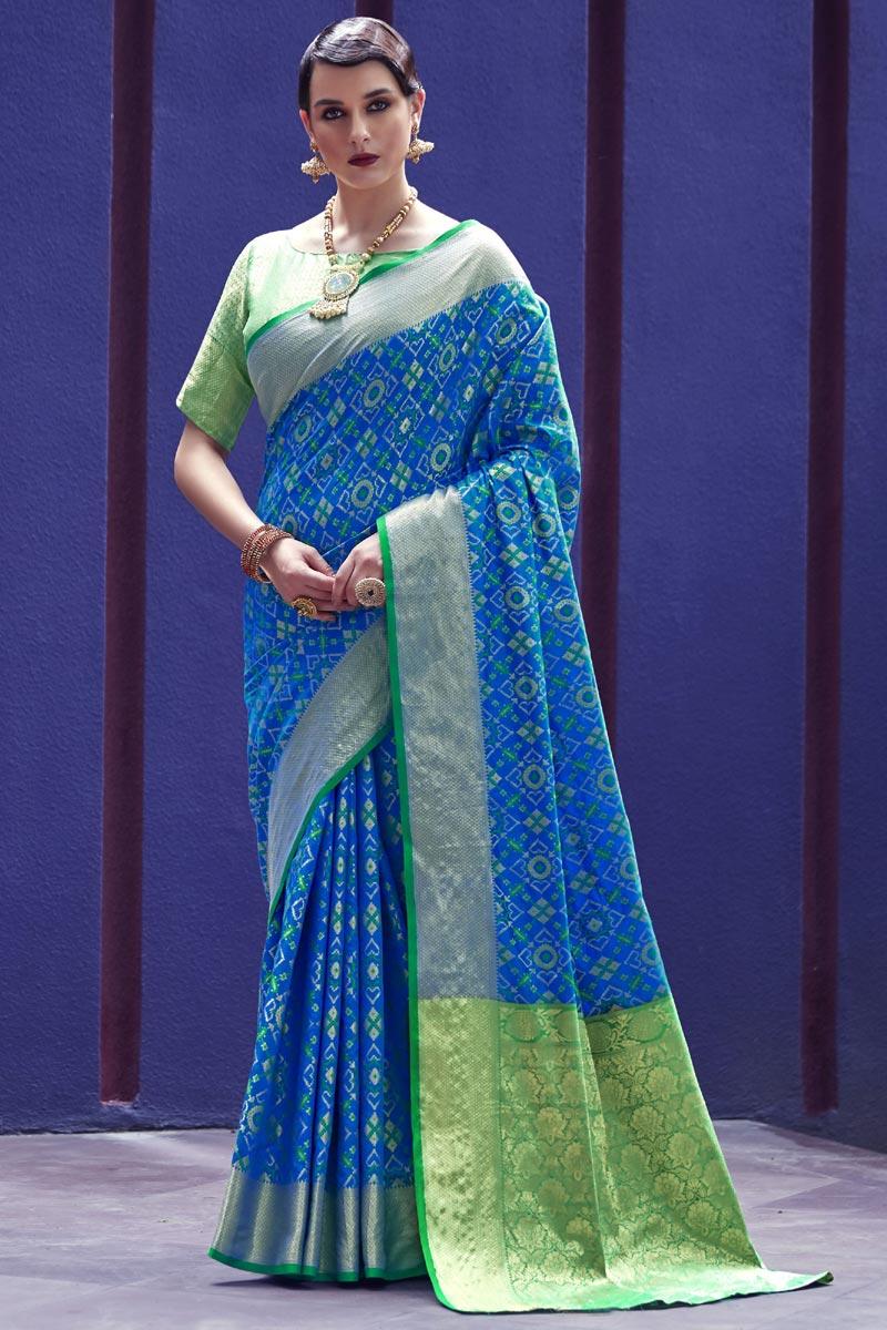 Festive Wear Sky Blue Fancy Art Silk Fabric Patola Style Weaving Work Saree