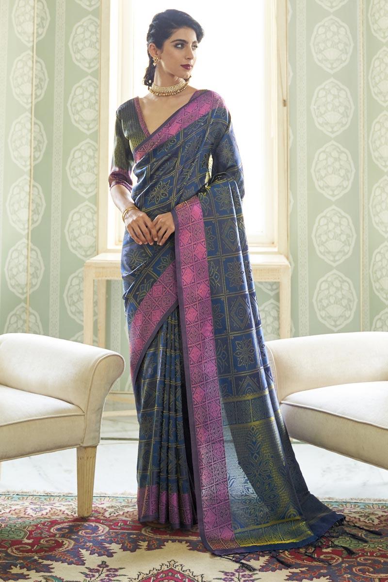Navy Blue Color Party Wear Art Silk Fabric Trendy Handloom Weaving Work Saree