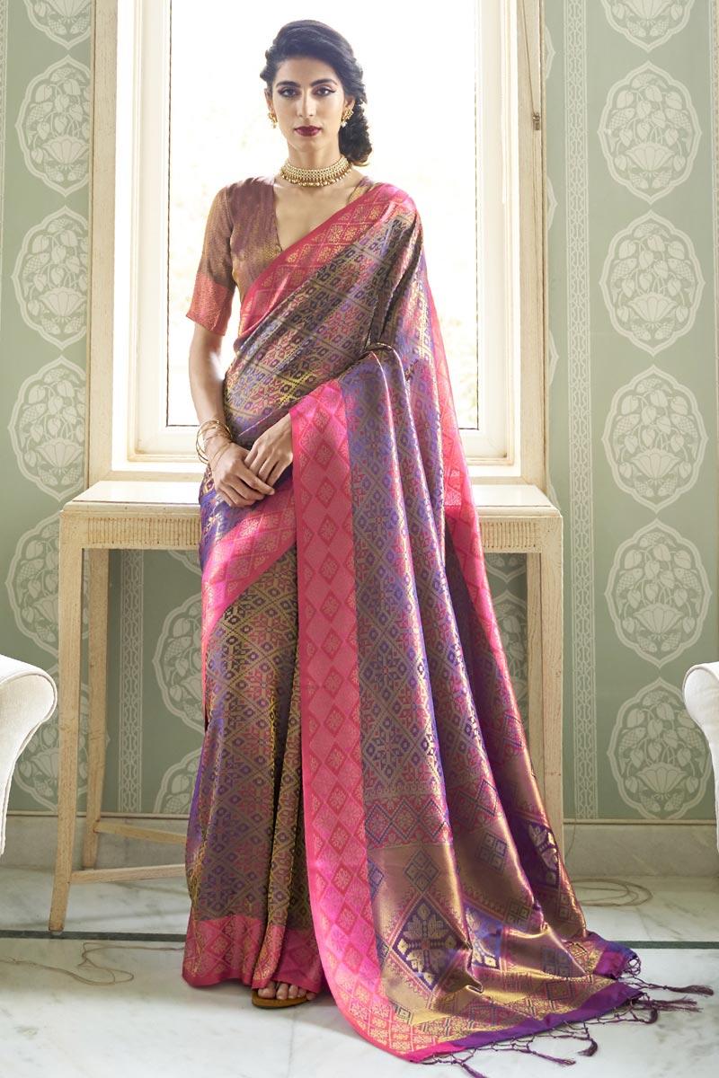 Party Wear Lavender Color Trendy Art Silk Fabric Handloom Weaving Work Saree